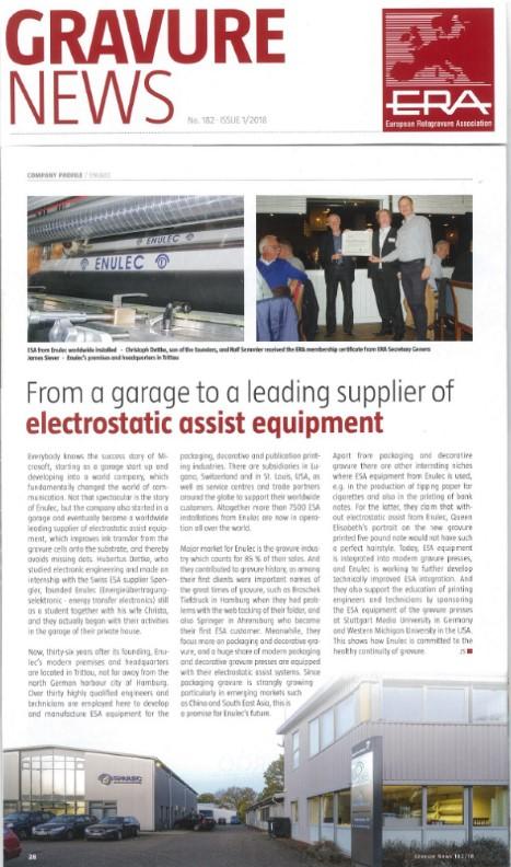 ENULEC- a leading supplier of electrostatic assist equipment