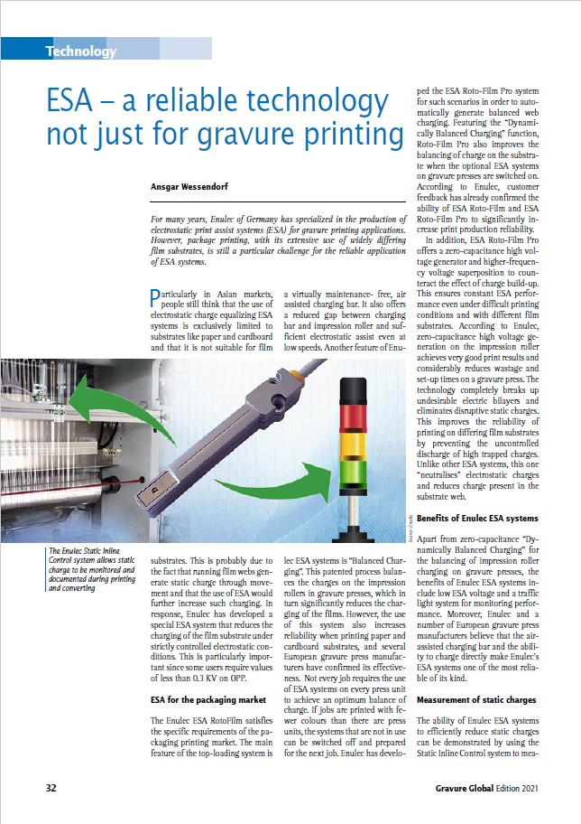 ESA a reliable technology not just for gravure printing